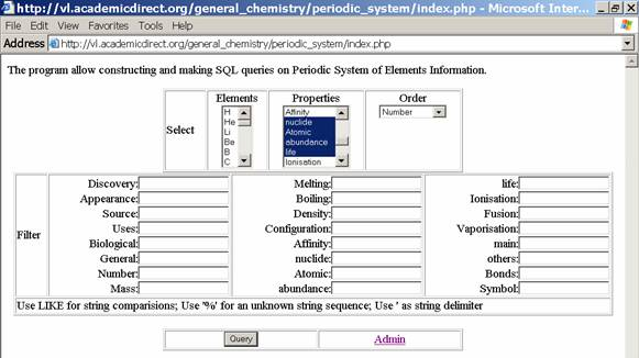 Sql Application For Periodic System Of Elements From Leonardo